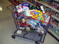 Grocery cart filled with items food for seniors